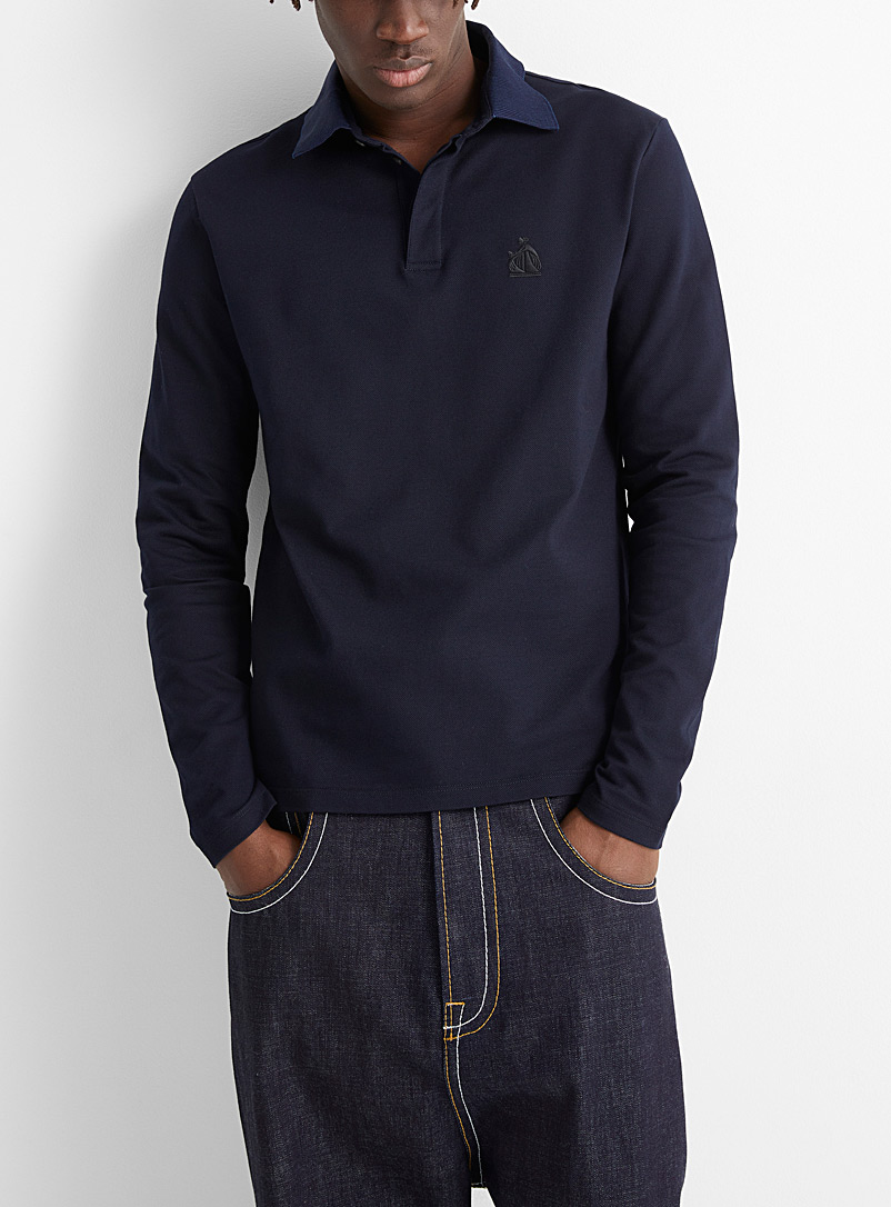 Lanvin Marine Blue Mother and daughter long-sleeve polo for men