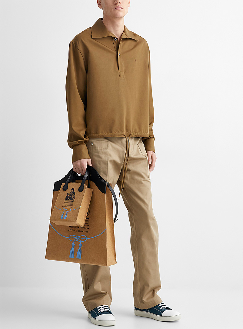 Lanvin Cream Beige Embroidered initial blouse for men