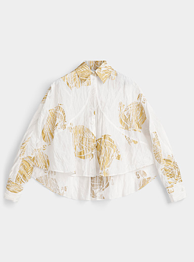 Lanvin White Golden accent pleated shirt for women