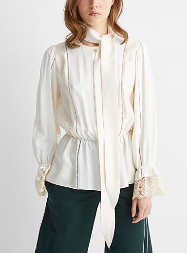 Lace cuff tie-neck blouse