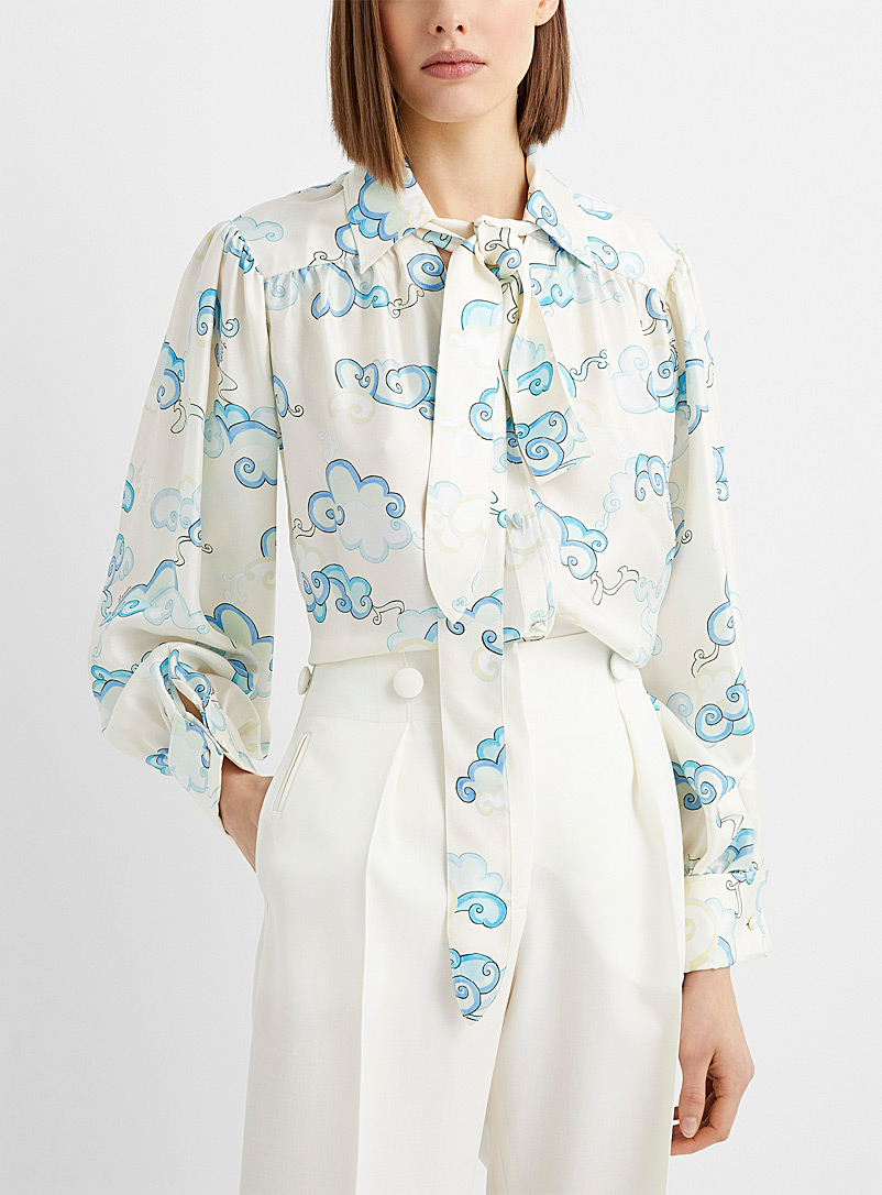 In the clouds tie-neck blouse