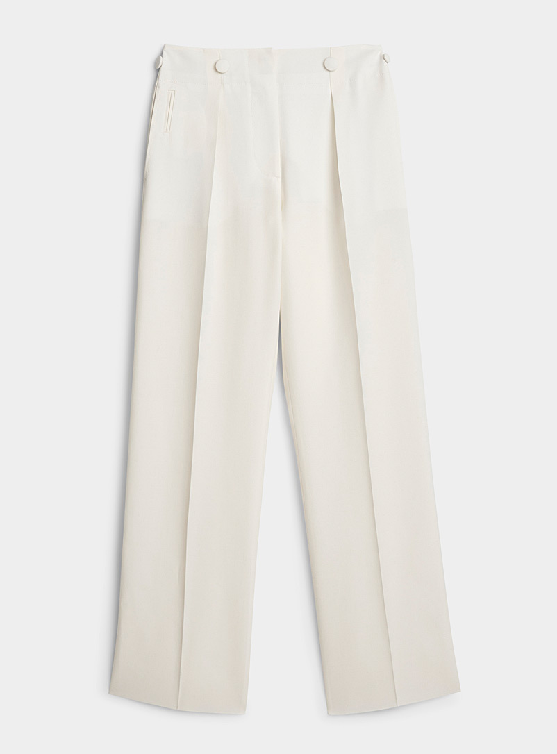 Lanvin White Pleated ivory pant for women