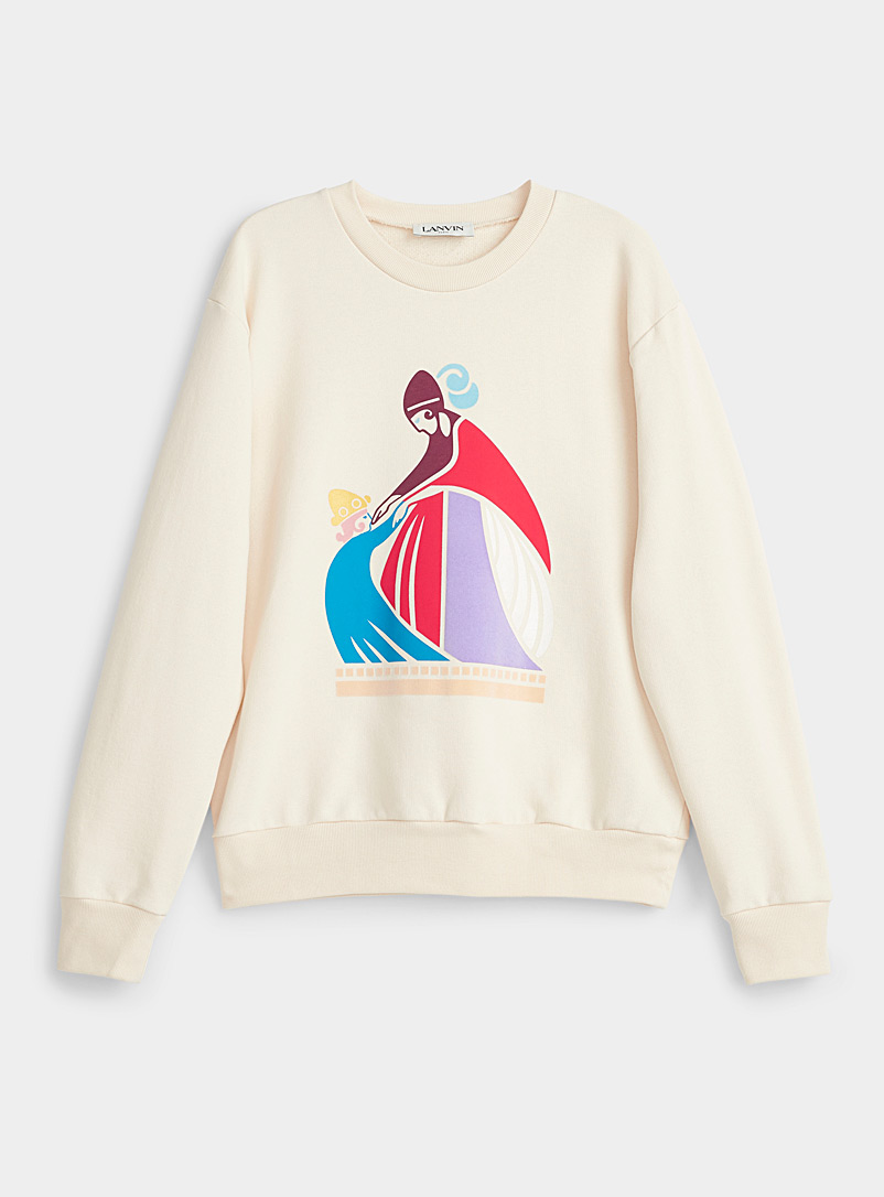 Lanvin Ecru/Linen Mother and child print sweatshirt for women