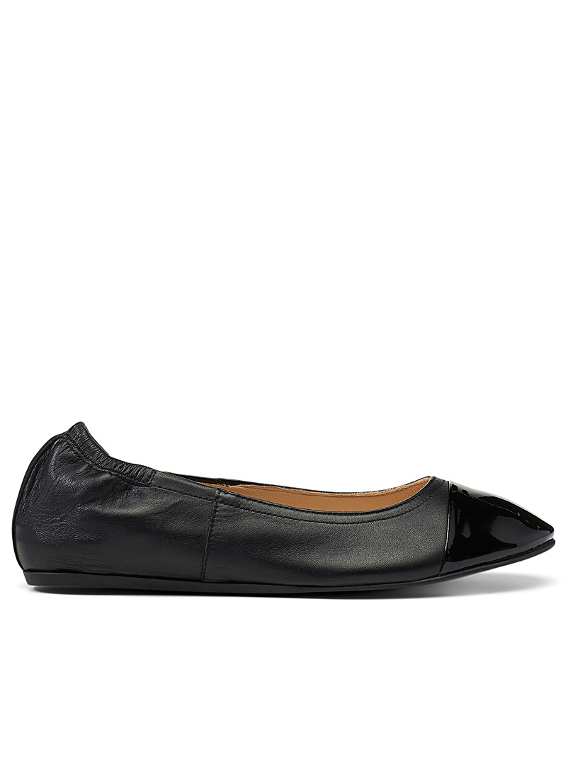 Lanvin Black Patent and nappa leather ballerina flats for women