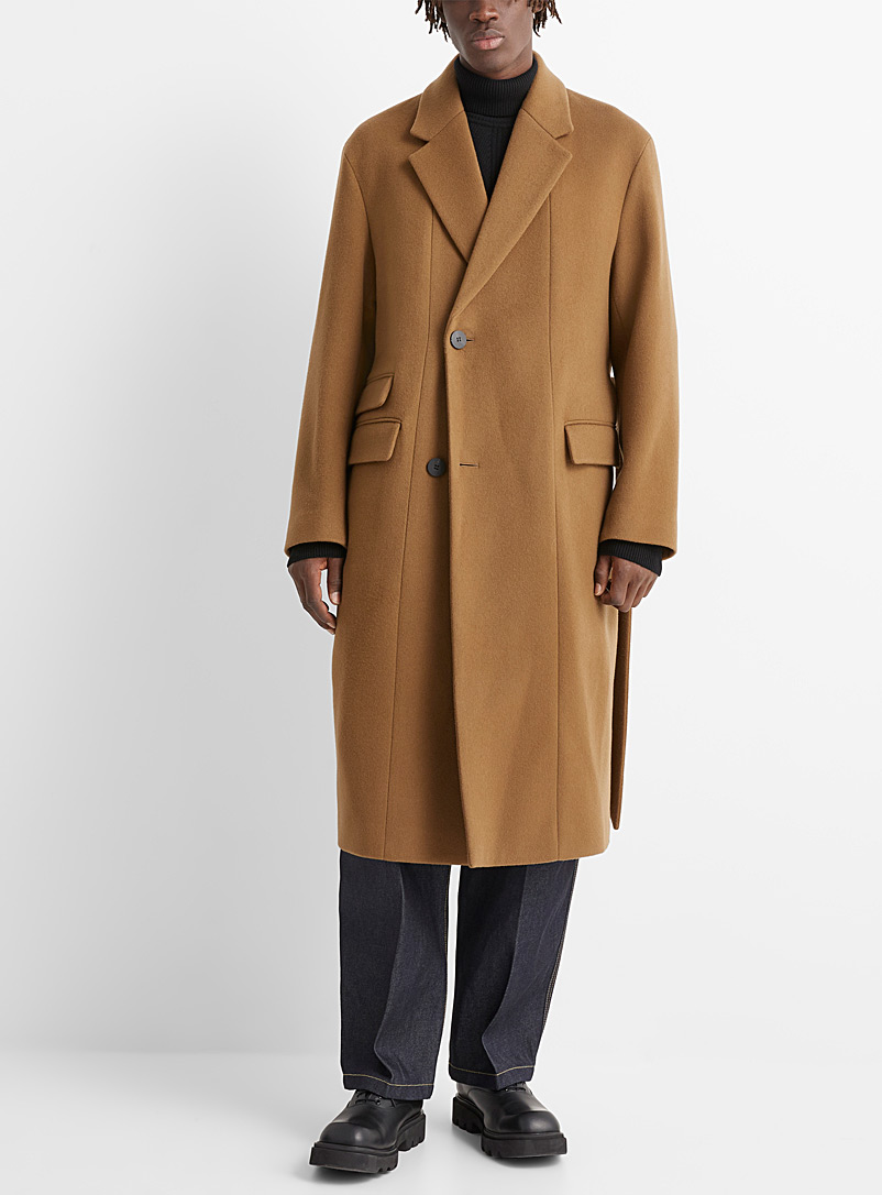 Wooyoungmi Light Brown Long wool and cashmere coat for men