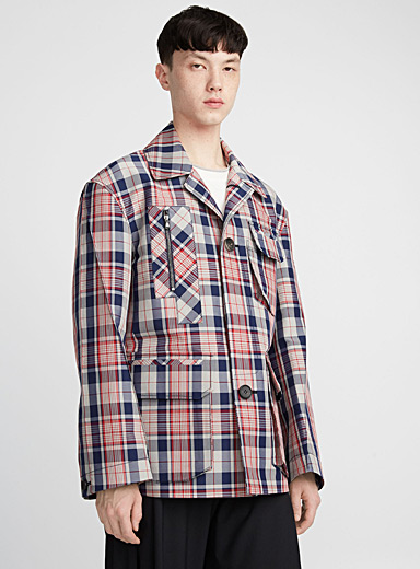 Utility-pocket checked overshirt