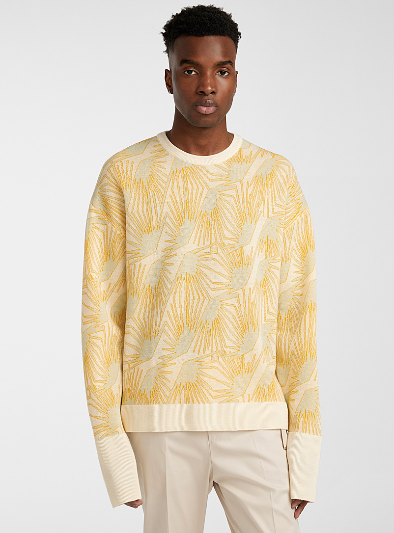 Wooyoungmi Ivory White Tropical jacquard sweater for men