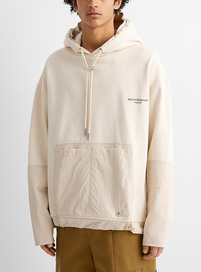 Wooyoungmi Ivory White Mixed media hoodie for men