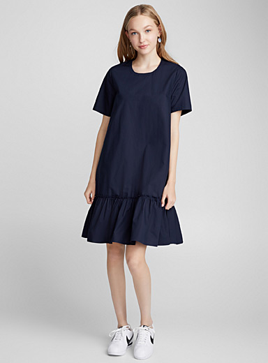 Mega ruffle poplin dress