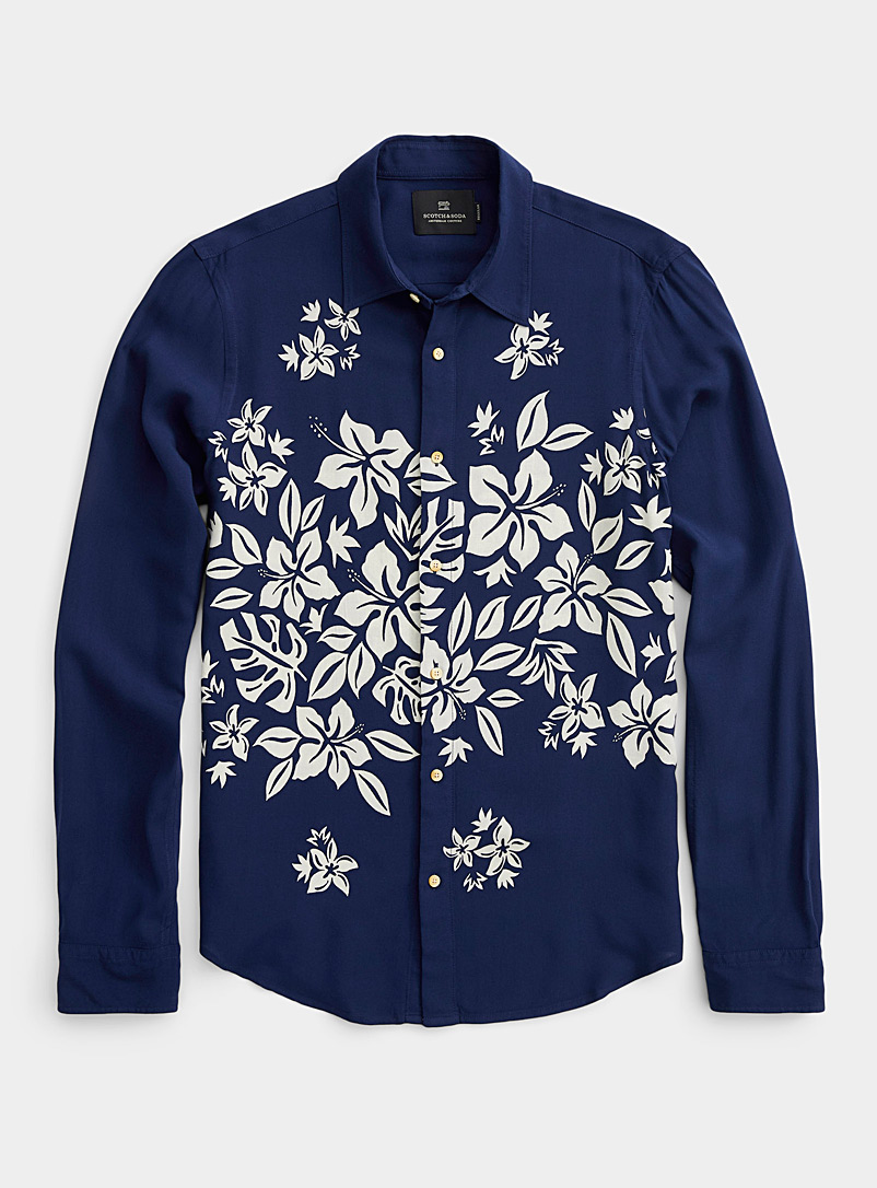 Scotch & Soda Marine Blue Southern flower shirt for men
