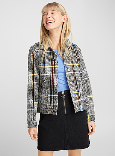 Colourful check tweed jacket