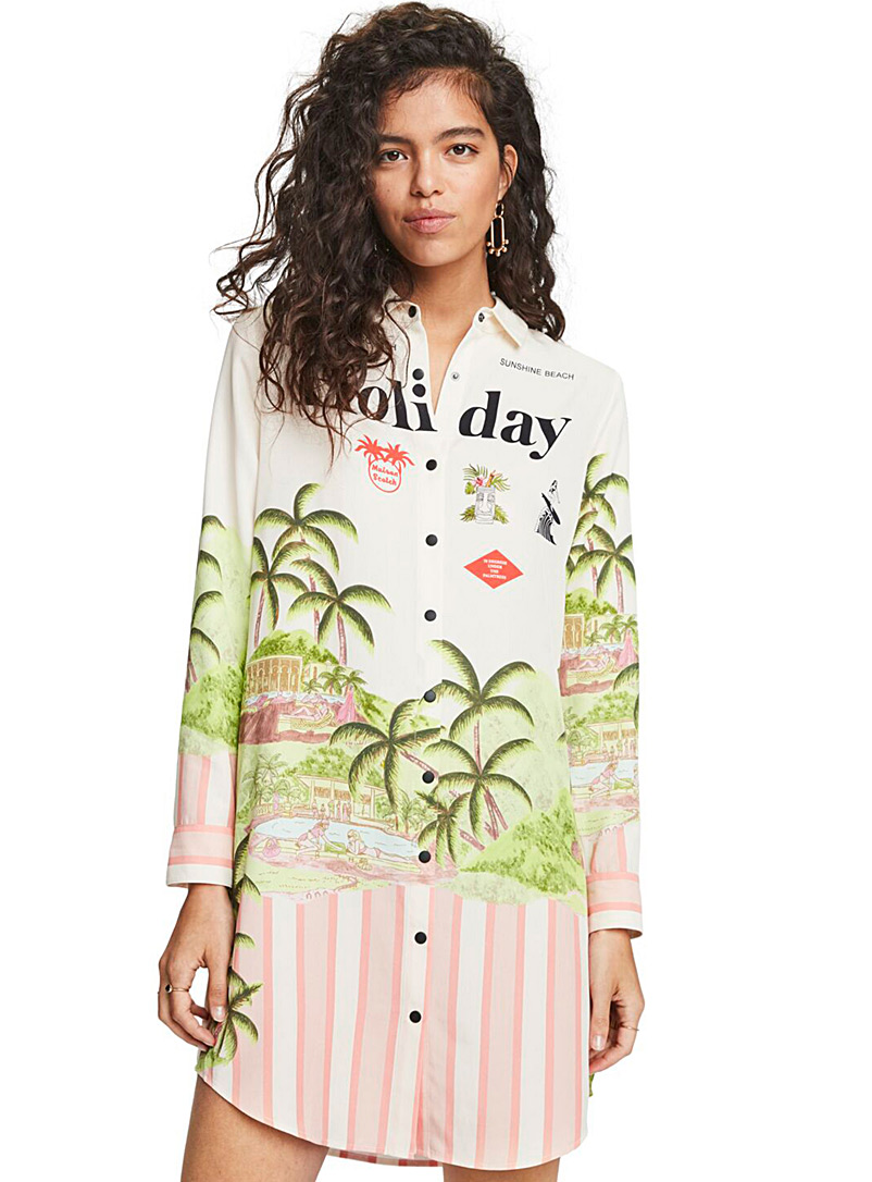 Scotch & Soda Patterned Red Holiday print shirtdress for women