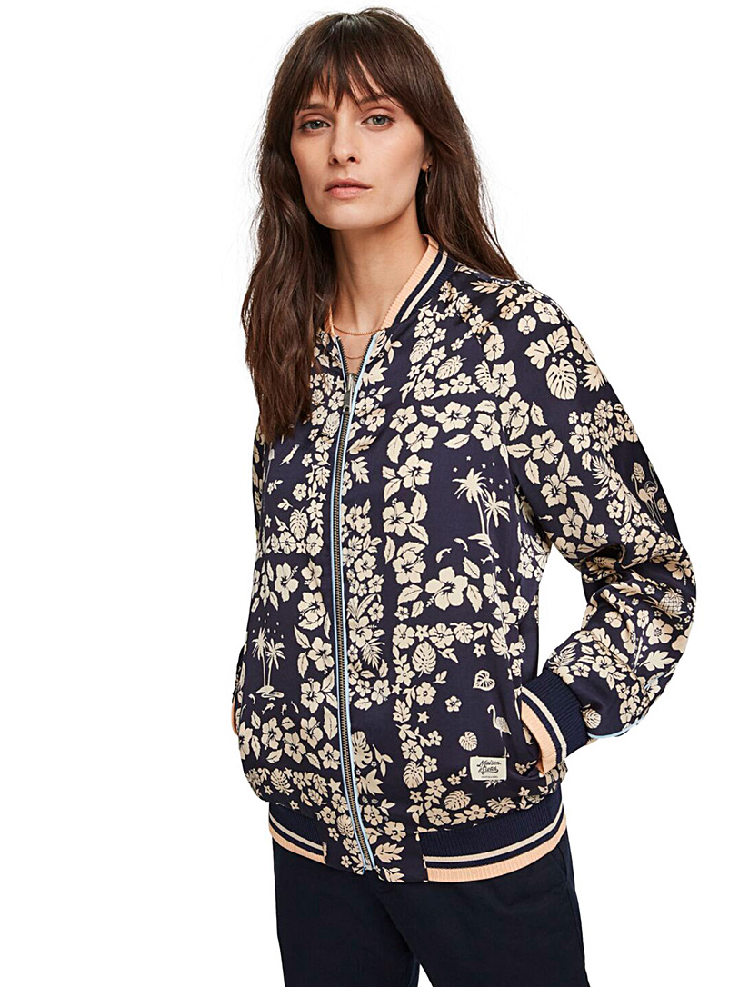 Scotch & Soda Patterned Blue Reversible printed bomber jacket for women