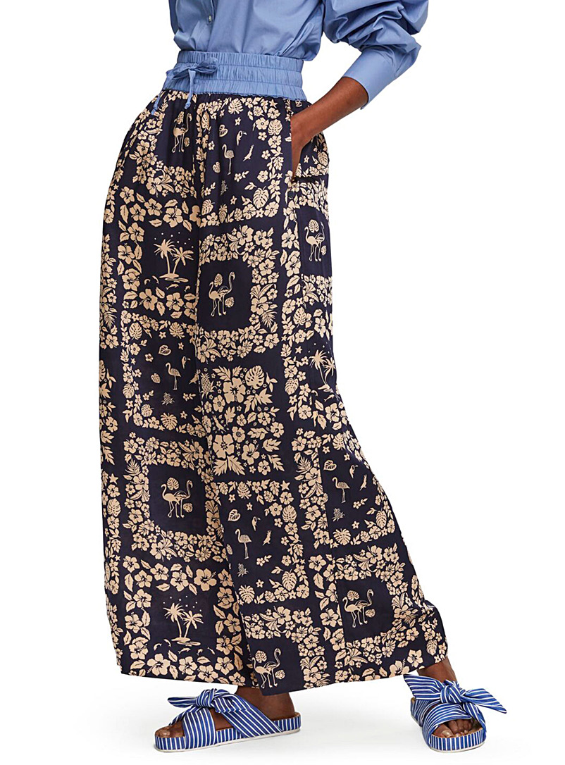 Scotch & Soda Patterned Blue Wide-leg printed pant for women