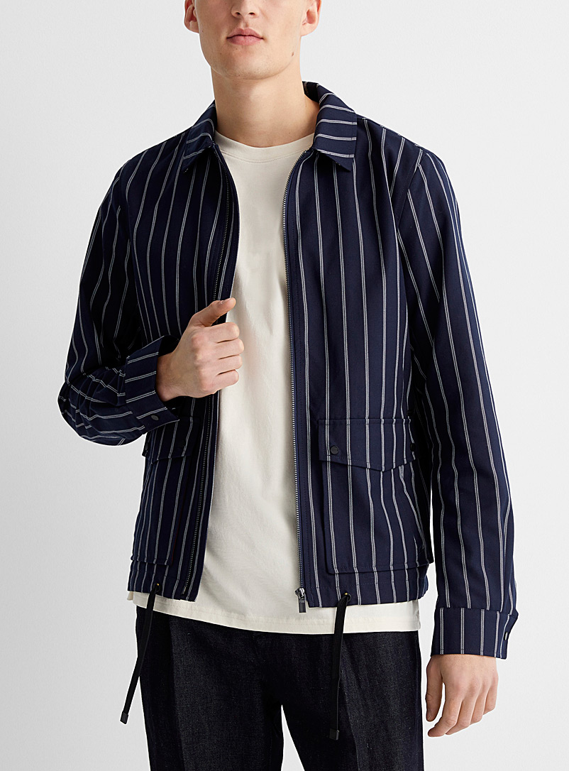 Scotch & Soda Patterned Blue Striped sports jacket for men
