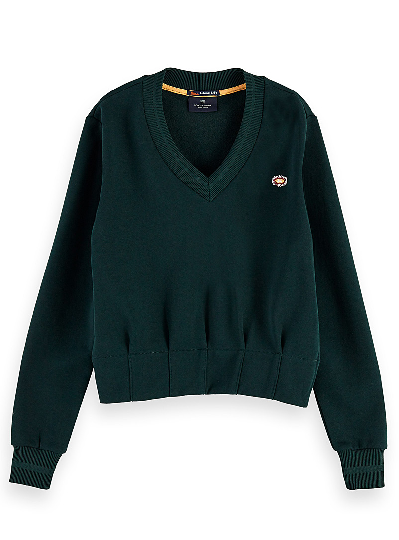 Scotch & Soda Mossy Green Pleated waist emblem sweatshirt for women