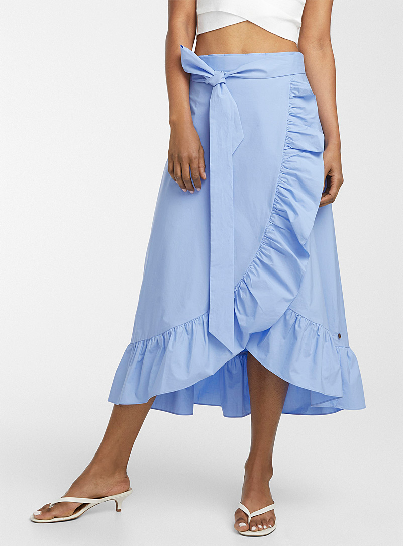 Scotch & Soda Slate Blue Poplin ruffled wrap skirt for women