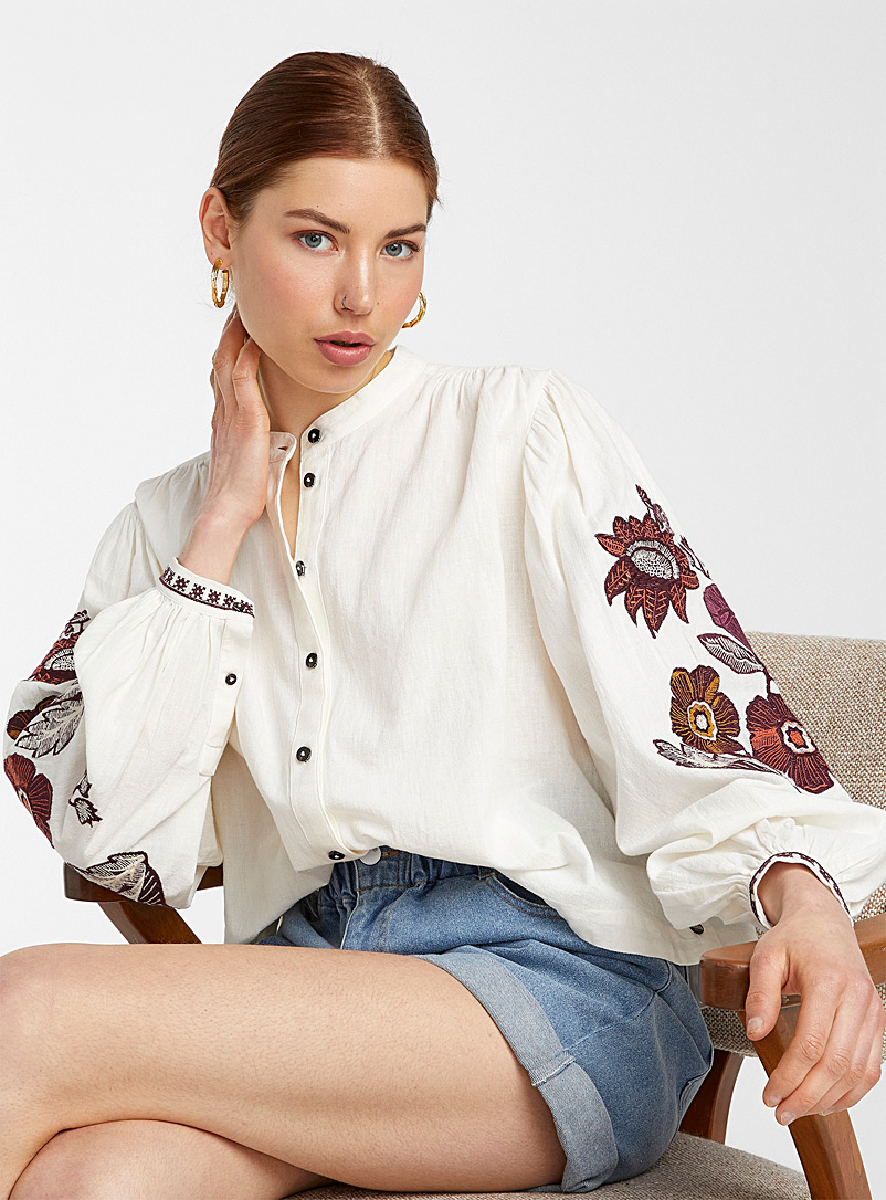 Scotch & Soda Patterned White Embroidered-sleeve shirt for women