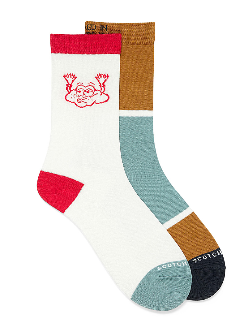 Scotch & Soda Assorted Colourful block and cloud sock 2-pack for men