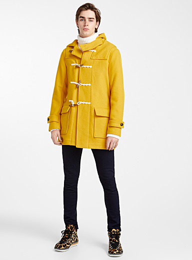 Bright yellow duffle coat