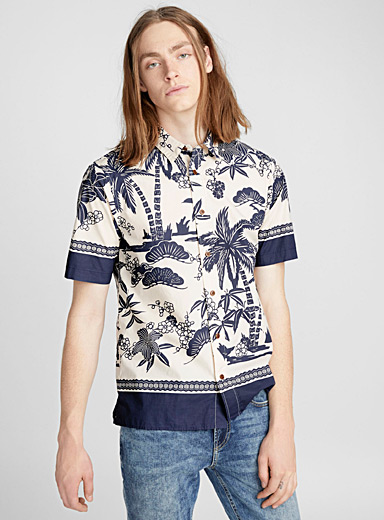 Indigo tropical shirt <br>Regular fit
