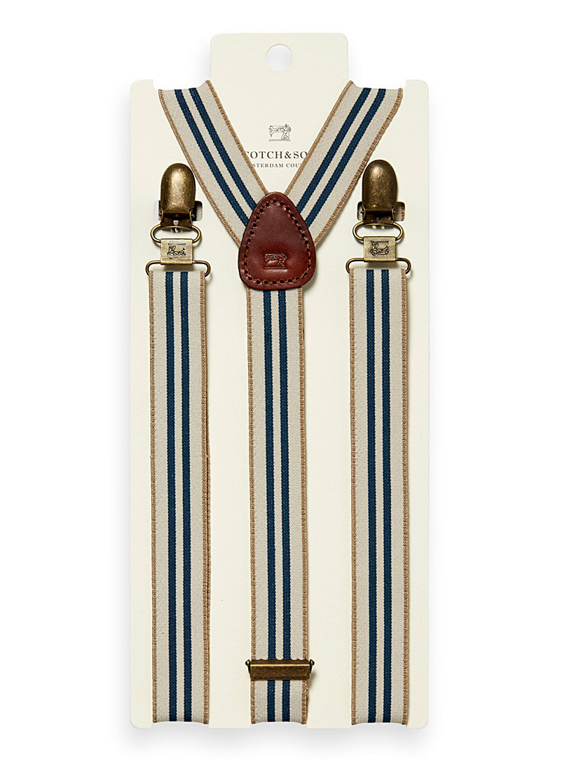 Scotch & Soda Cream Beige Striped suspenders for men