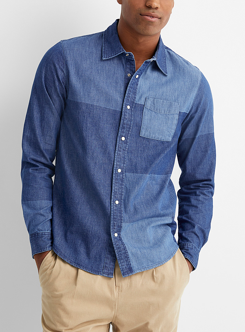 Scotch & Soda Assorted Denim patchwork shirt  Comfort fit for men