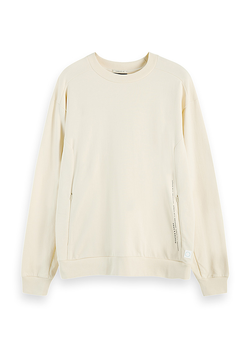Scotch & Soda Ecru/Linen Club Nomad sweatshirt for men