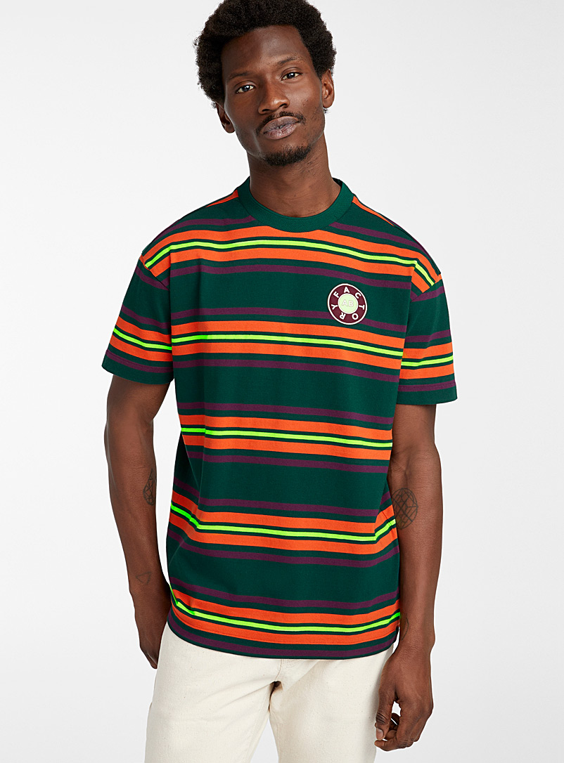 Scotch & Soda Green Bright stripe T-shirt for men