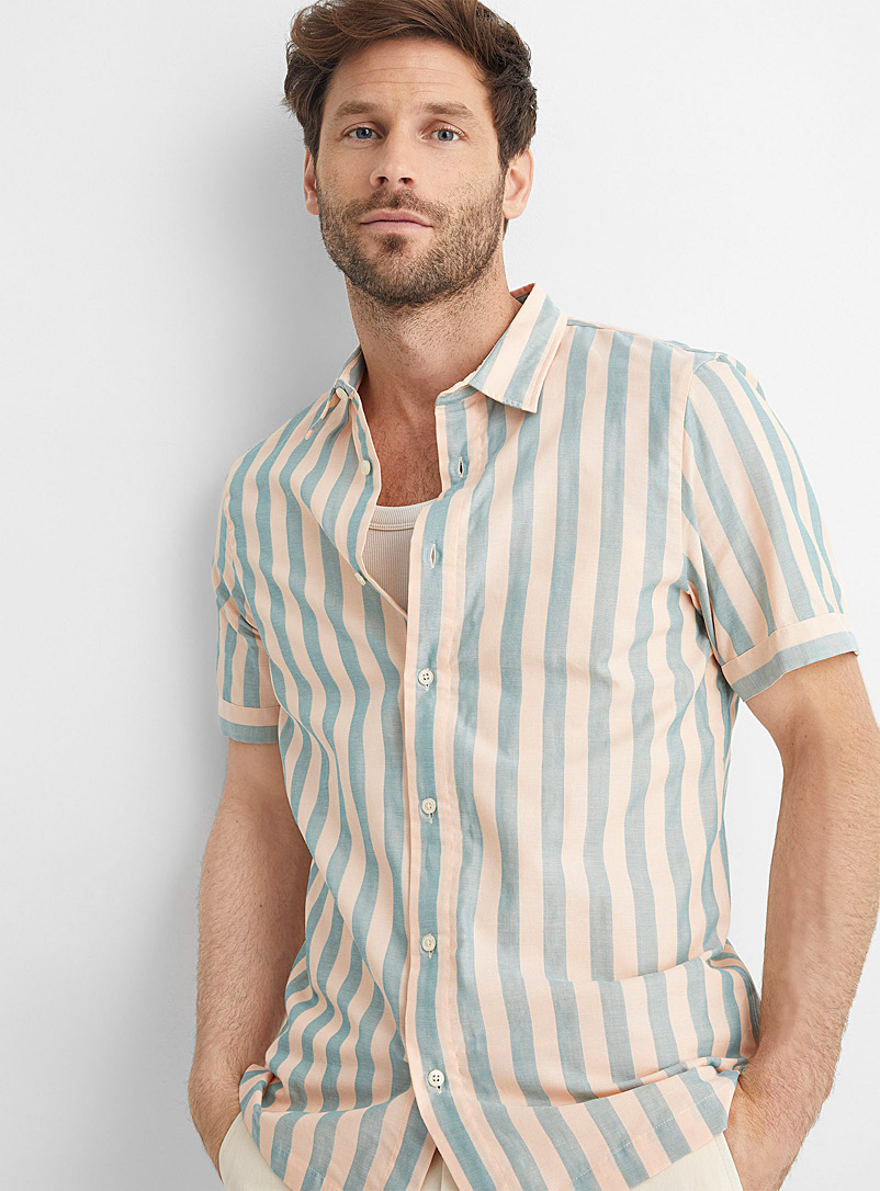 Scotch & Soda Pink Sorbet stripe shirt for men