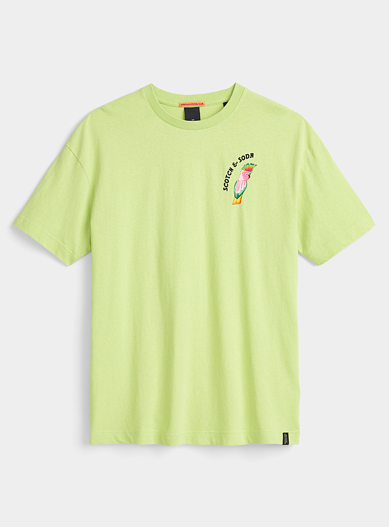 Scotch & Soda Lime Green Honolulu T-shirt for men