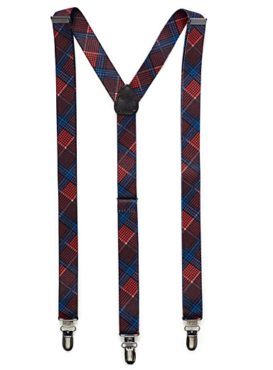 Colourful check suspenders