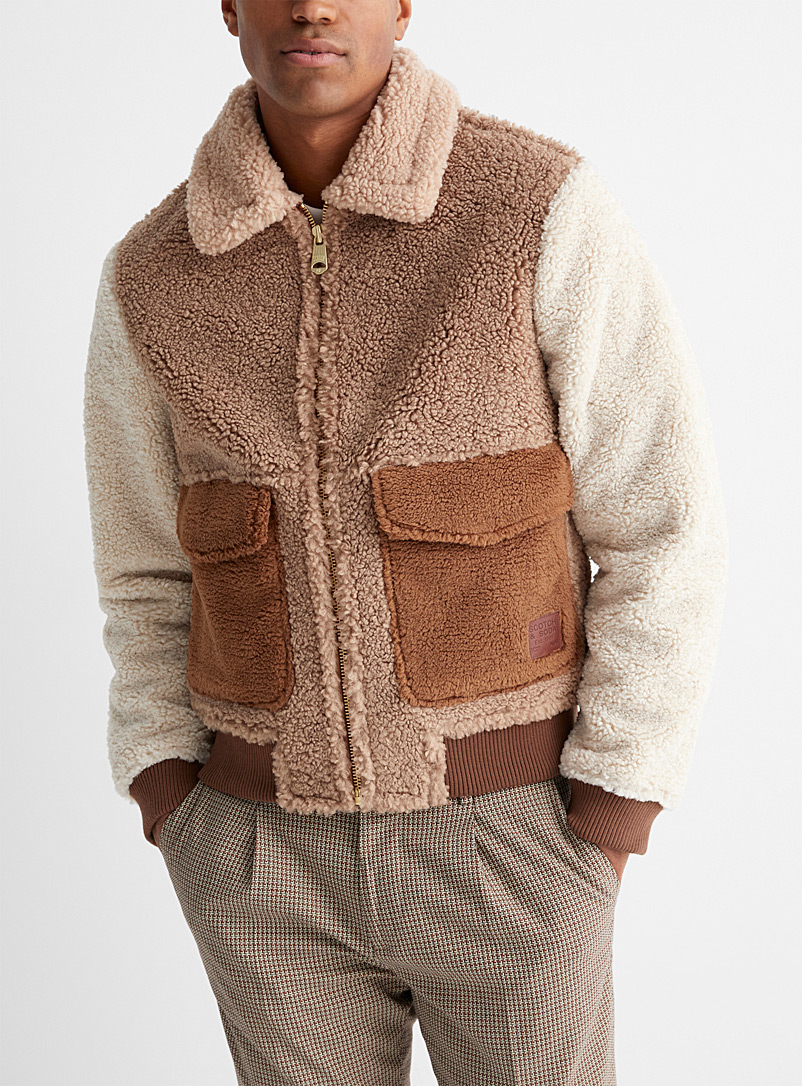Scotch & Soda Assorted Block-style sherpa jacket for men