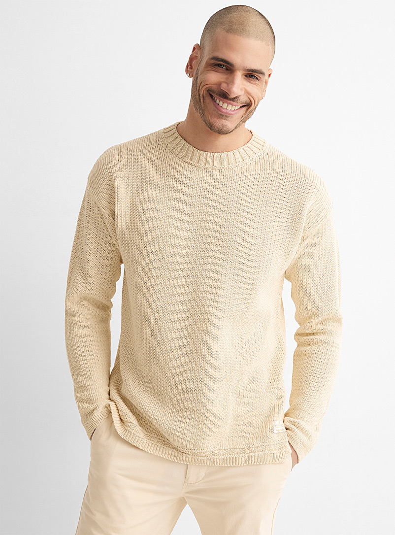 Scotch & Soda Ecru/Linen Recycled cotton and linen sweater for men
