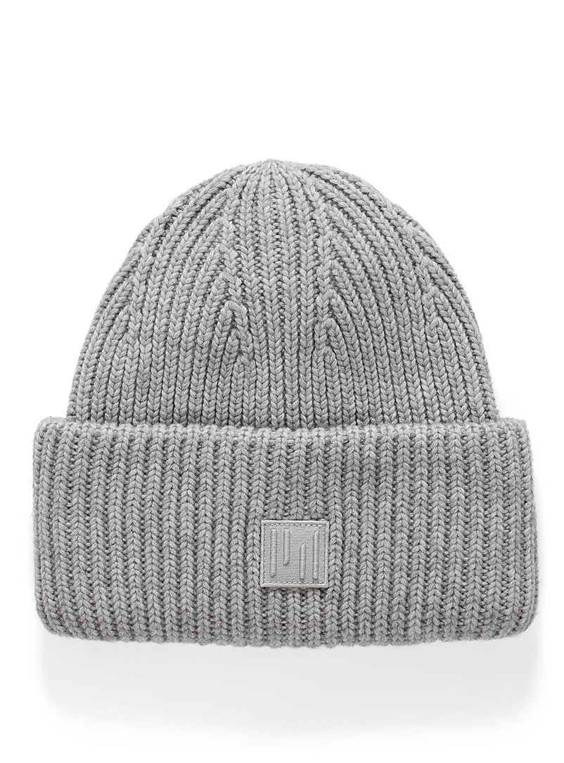 Simons Light Grey Lined cuffed tuque for men