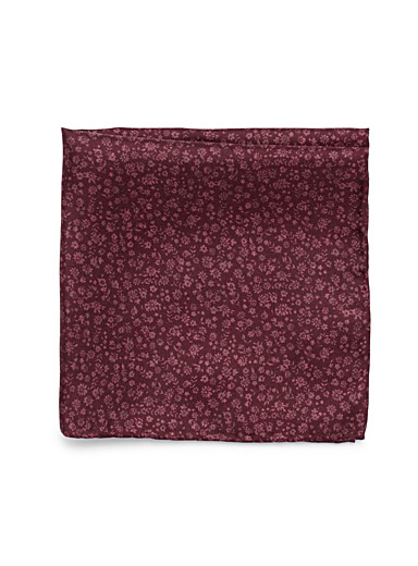 Burgundy flower pocket square