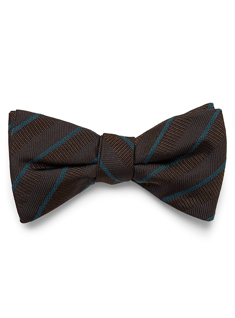 Textured accent stripe bow tie - Bow Ties - Brown