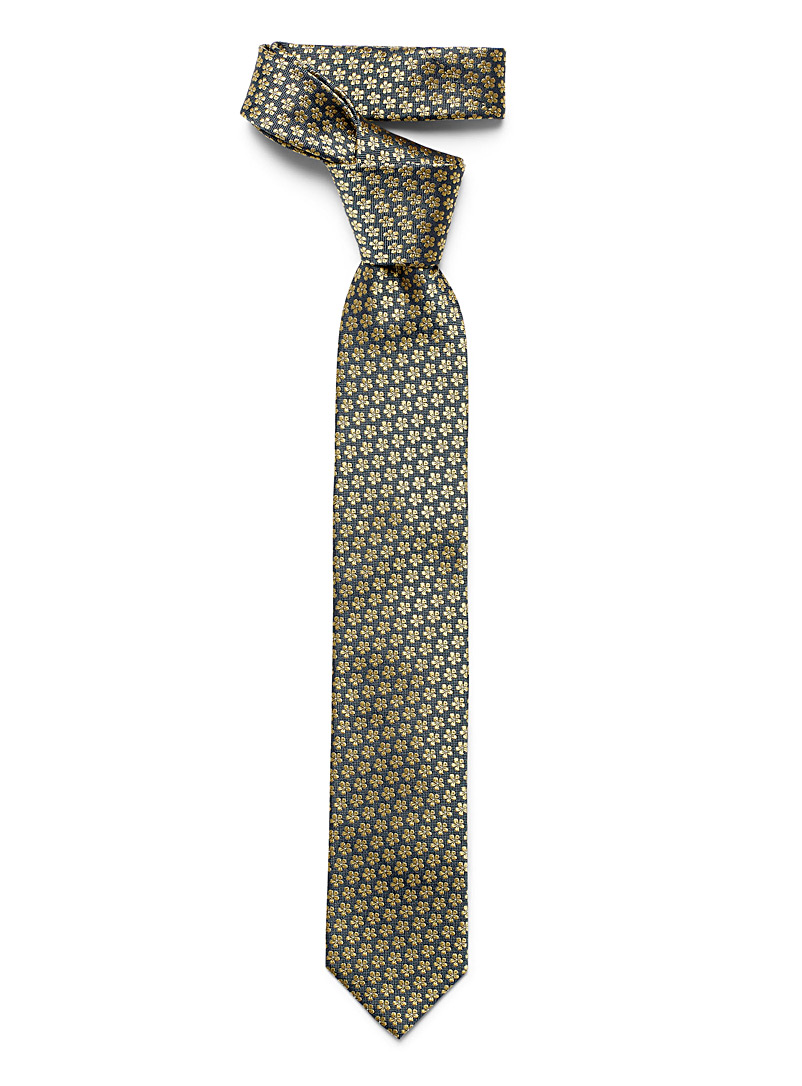 Blick Grey Golden flowers tie for men