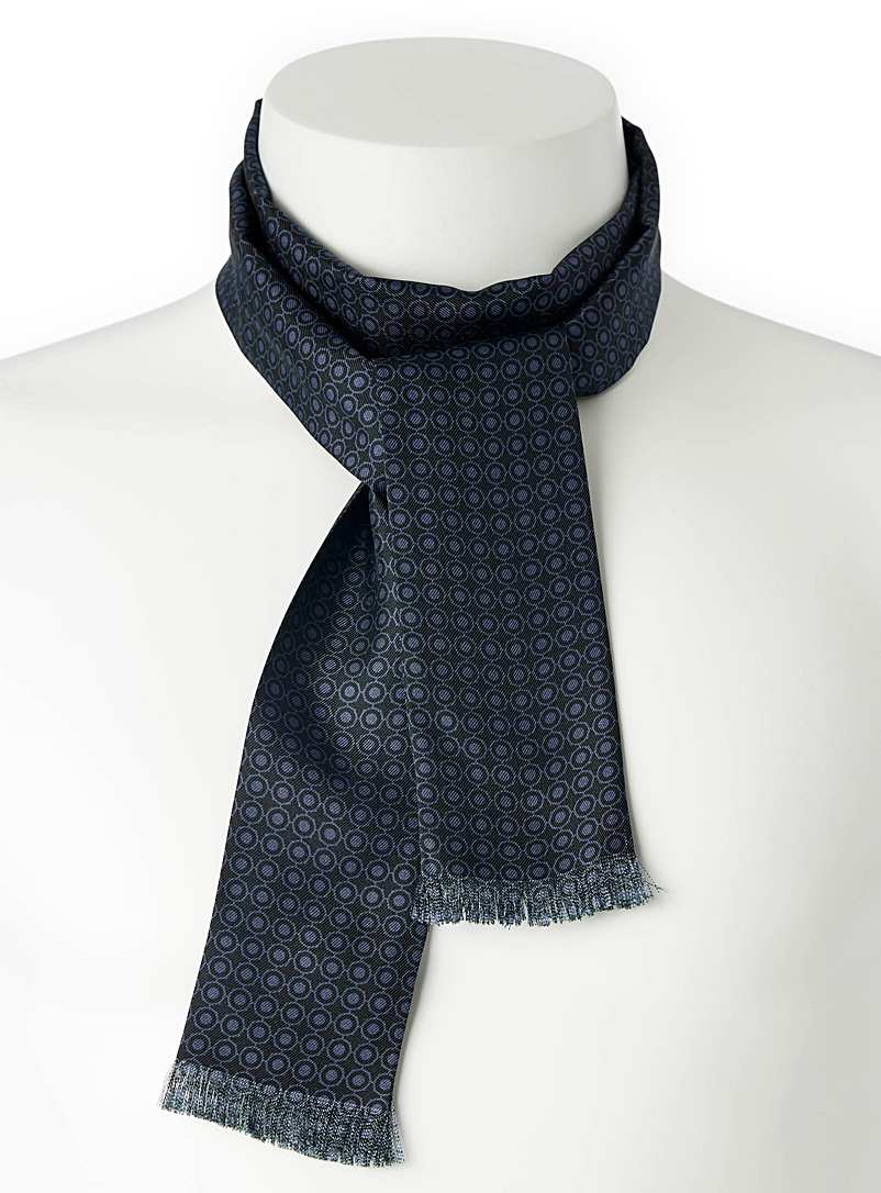 Blick Marine Blue Dandy ascot scarf for men