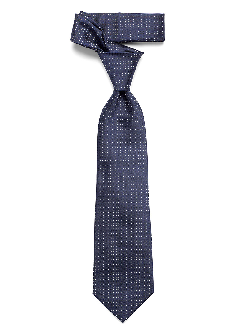 Blick Marine Blue Woven micro-dot tie for men