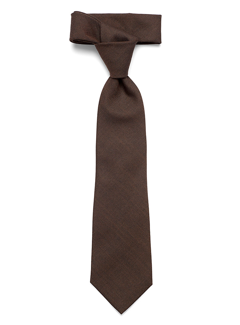 Blick Brown Solid wool tie for men