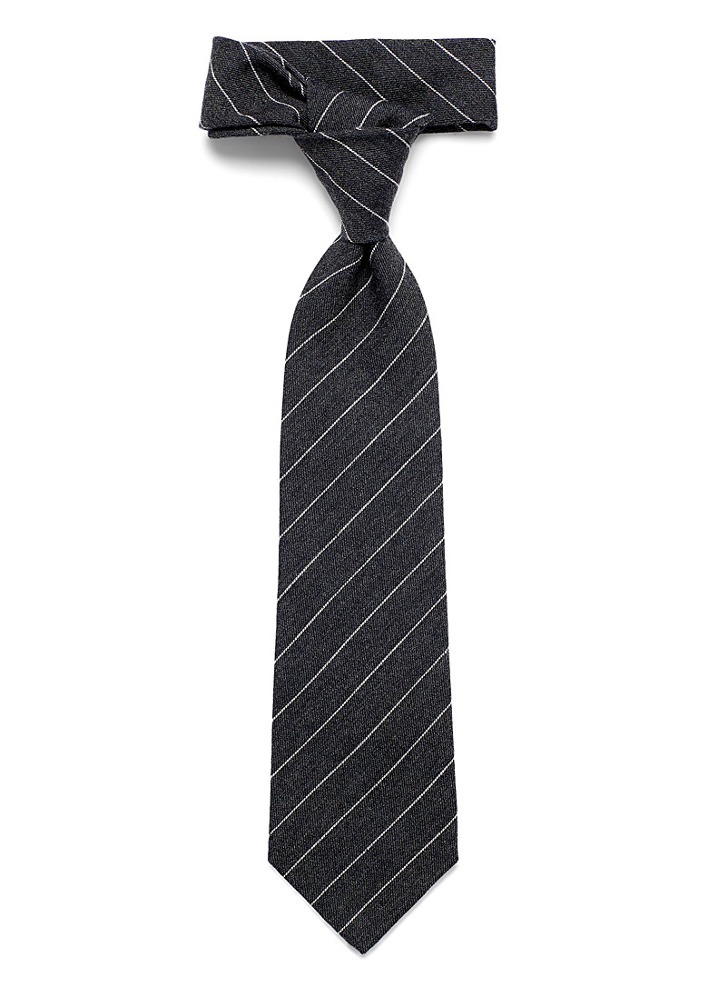 Blick Charcoal Cashmere touch striped tie for men