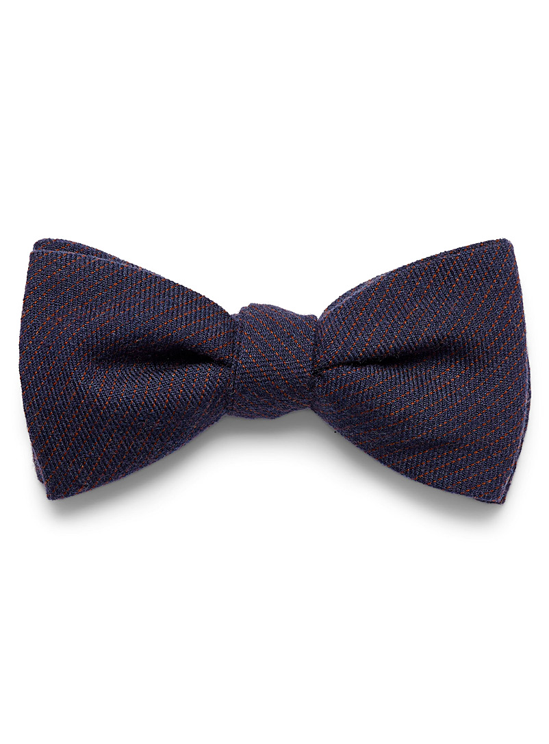 Blick Brown Cashmere touch banker stripe bow tie for men