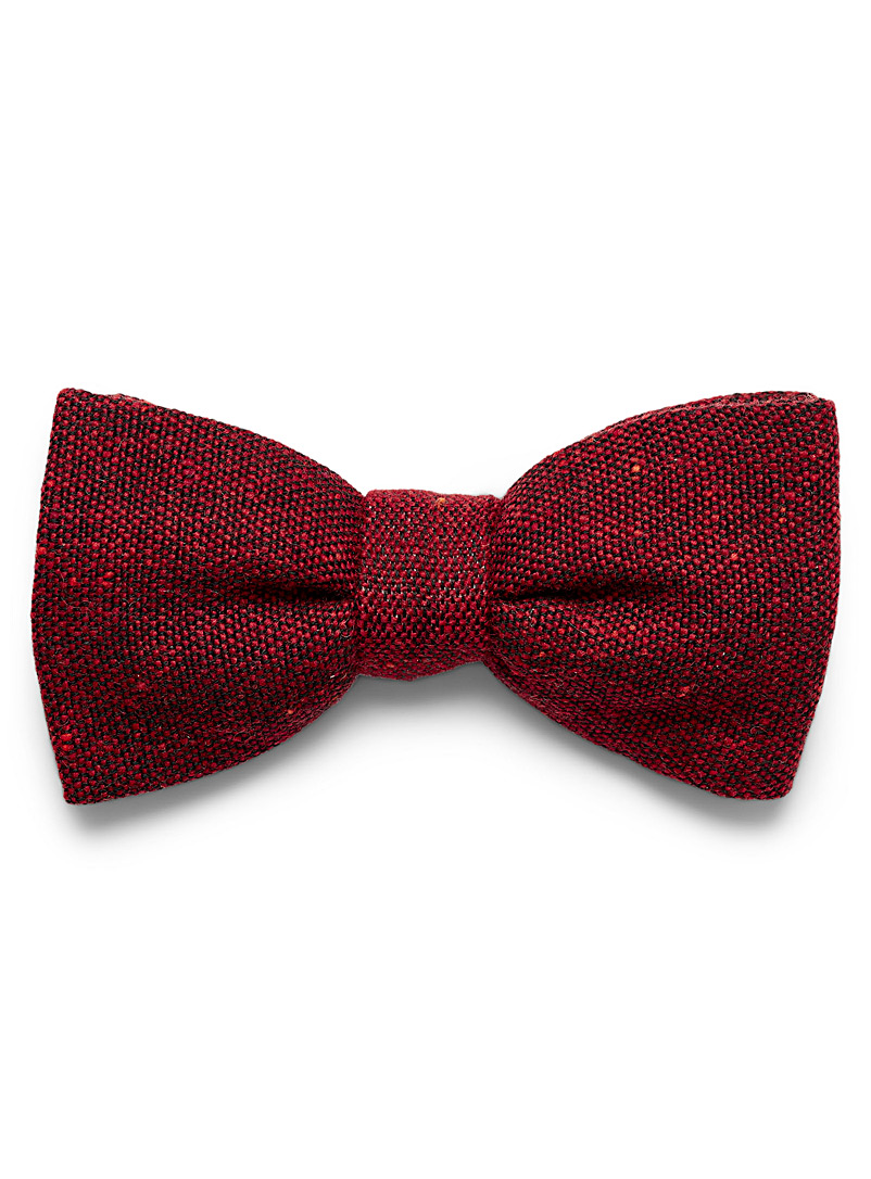 Blick Red Coloured-accent tweed bow tie for men