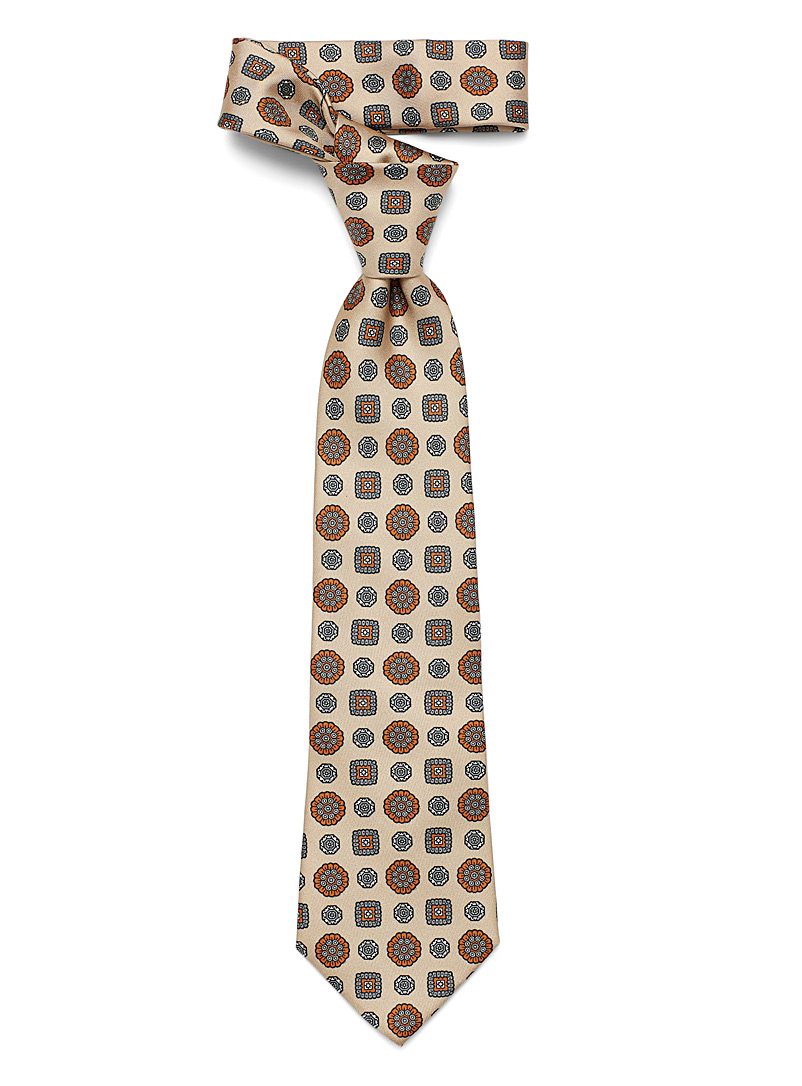 Blick Light Brown Repeating medallion tie for men