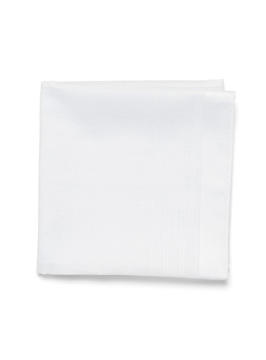 Blick White Satiny stripe pocket square for men