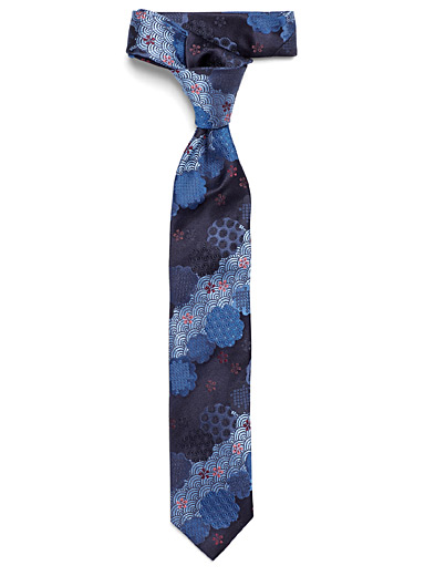 Indigo graphic flower tie