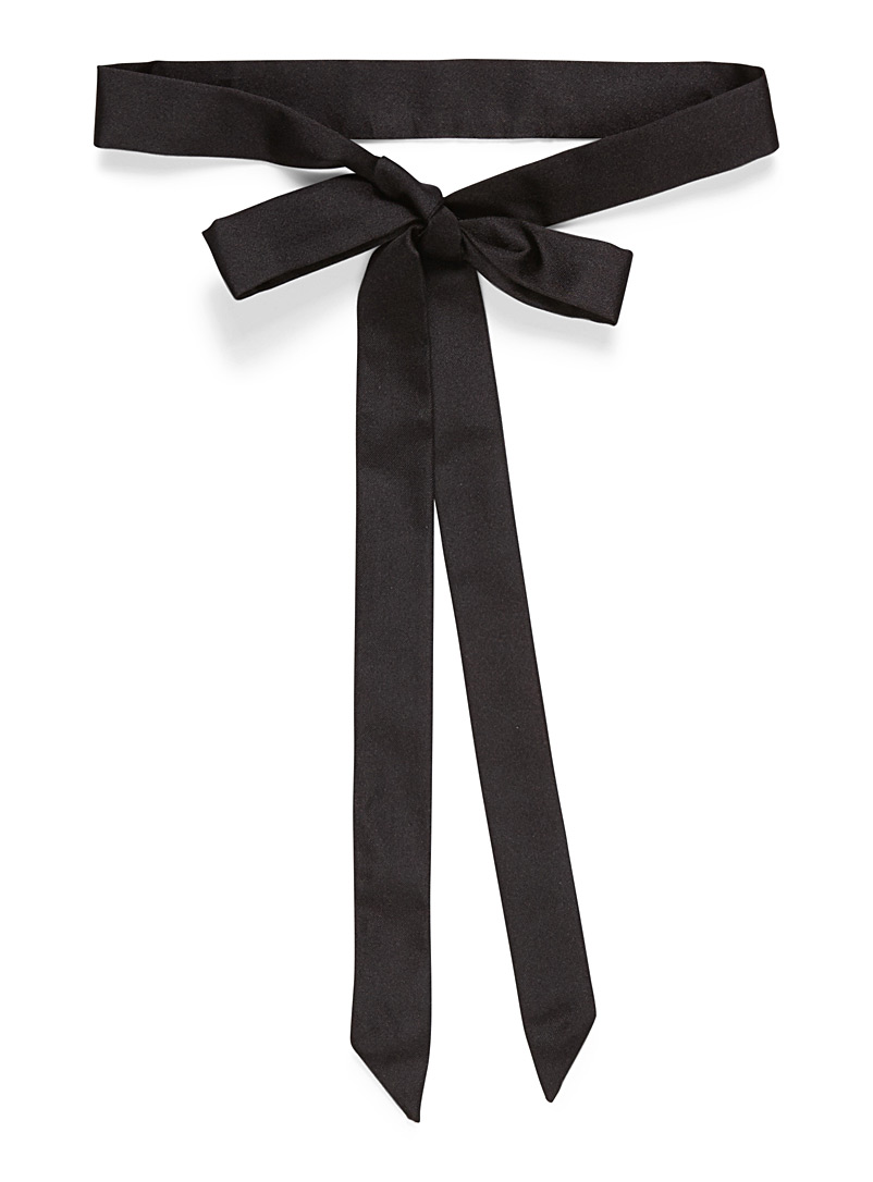 Monochrome pure silk ribbon tie