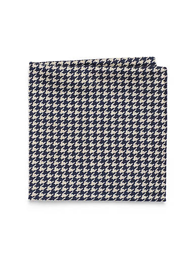 Navy houndstooth pocket square