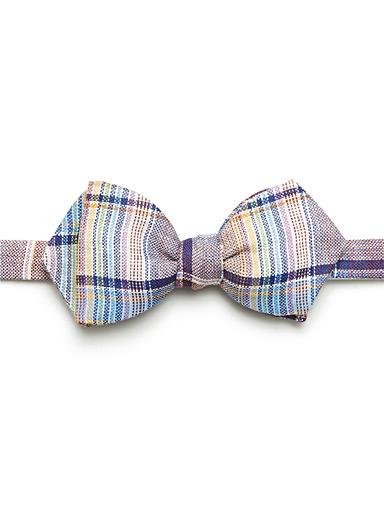 Pastel check bow tie